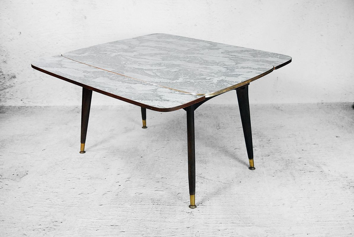 Folding Side Table And Dining Table With A Marble Pattern