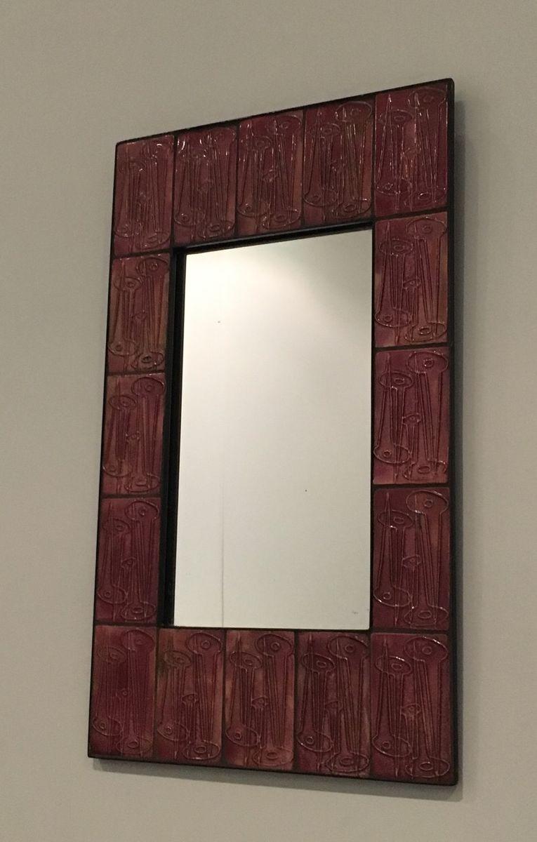 mid century spiegel mit keramik rahmen bei pamono kaufen. Black Bedroom Furniture Sets. Home Design Ideas