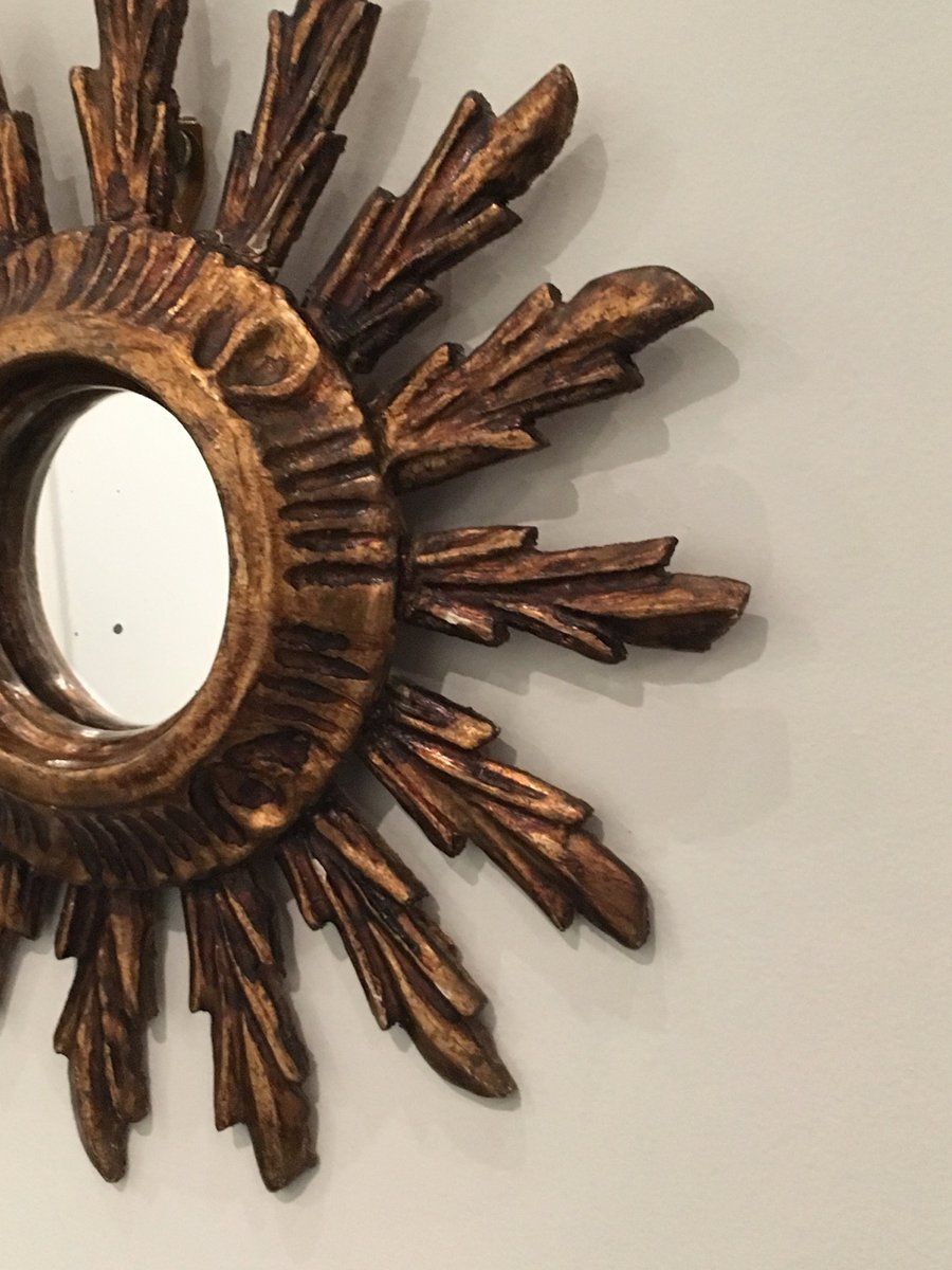 very small vintage wooden sun mirror