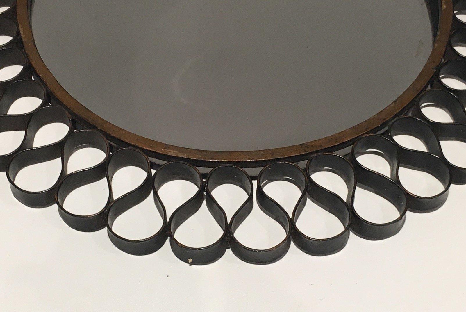 mid century spiegel mit schwarz gold lackiertem metallrahmen bei pamono kaufen. Black Bedroom Furniture Sets. Home Design Ideas
