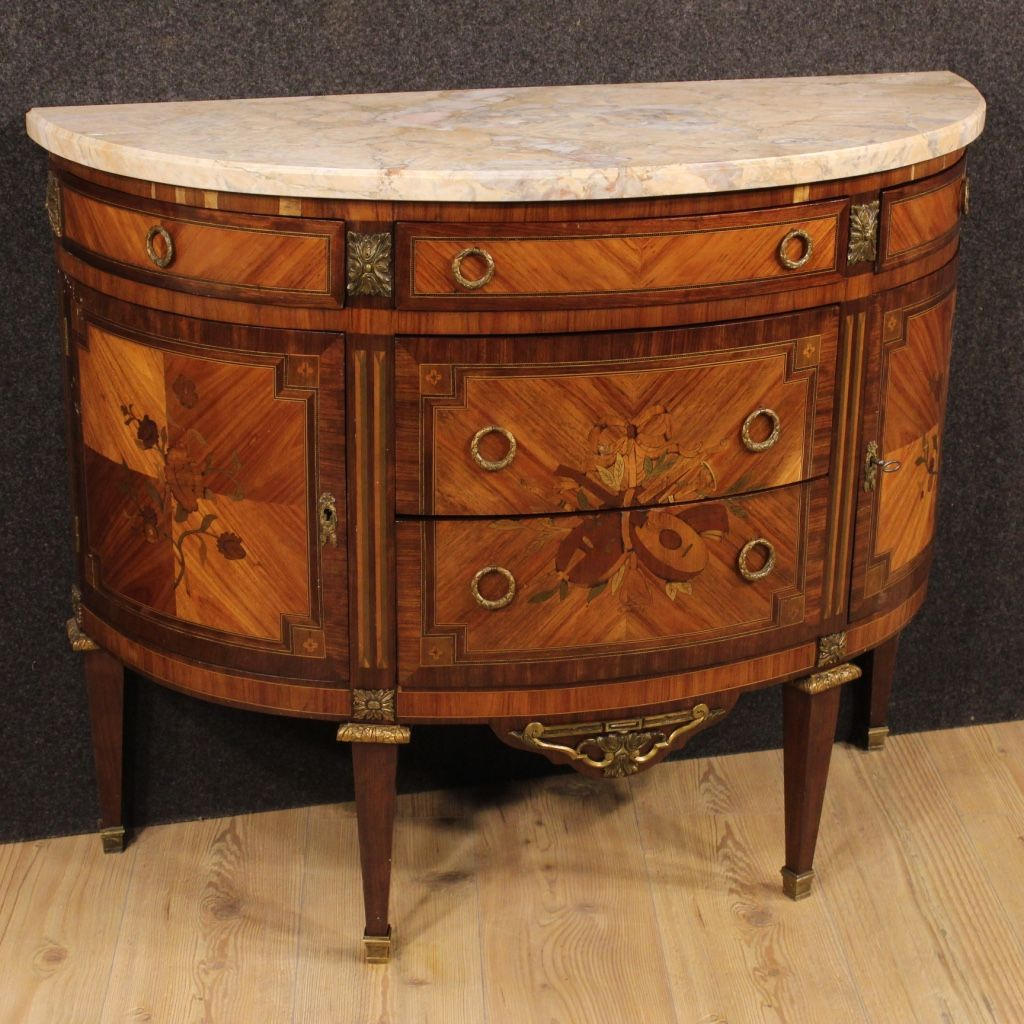 French inlaid demi lune dresser 1920 for sale at pamono for Baignoire demi lune