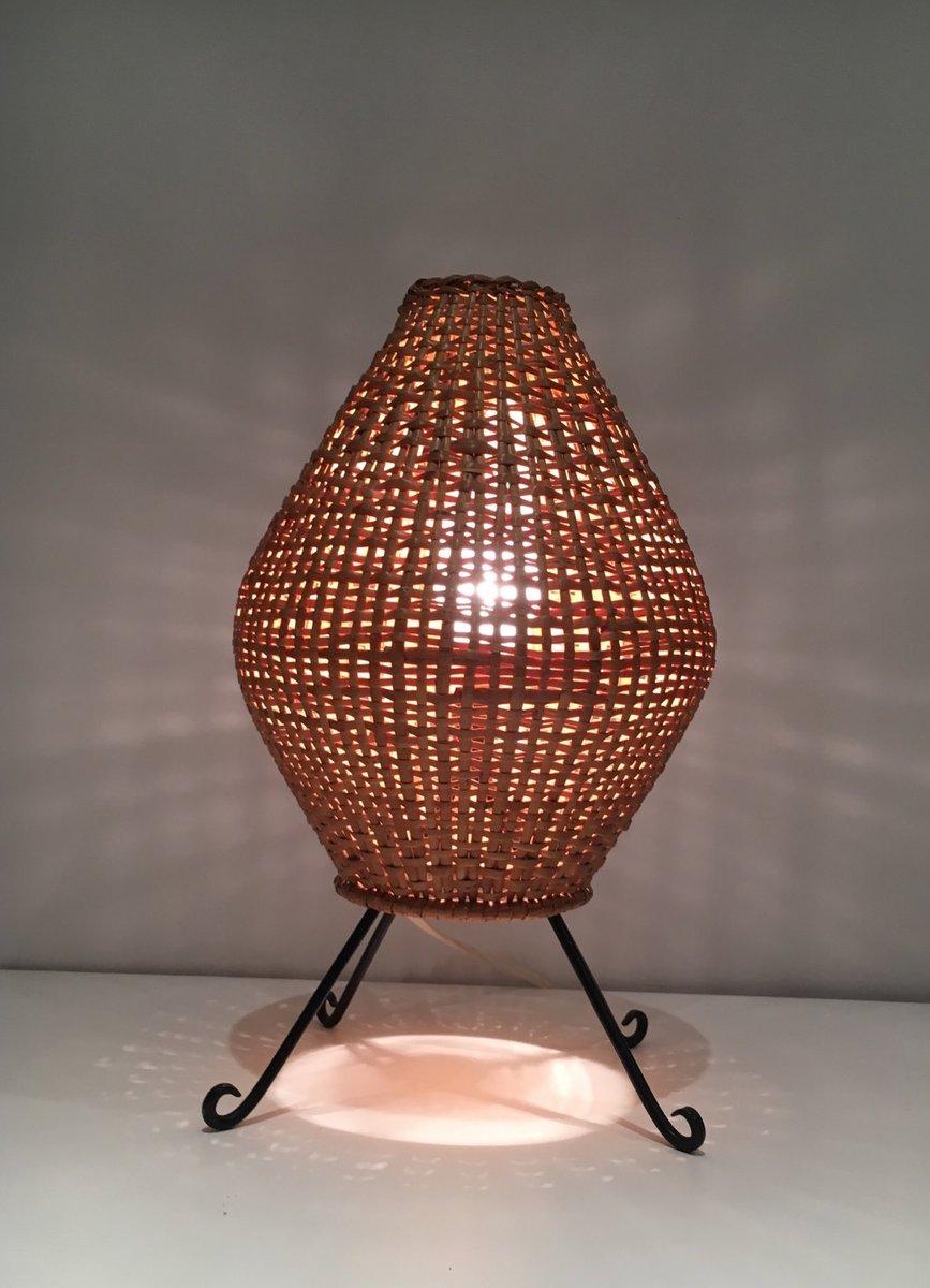 mid century lampe aus rattan lackiertem metall bei pamono kaufen. Black Bedroom Furniture Sets. Home Design Ideas