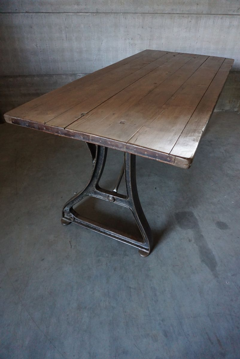 vintage industrial pine cast iron dining table for sale at pamono. Black Bedroom Furniture Sets. Home Design Ideas