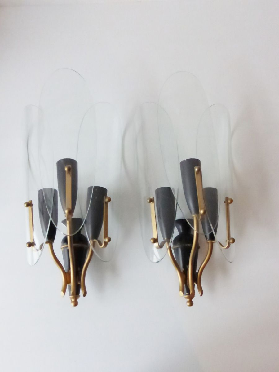 Wall Sconces Set Of 2 : Vintage Glass Wall Sconces, 1950s, Set of 2 for sale at Pamono