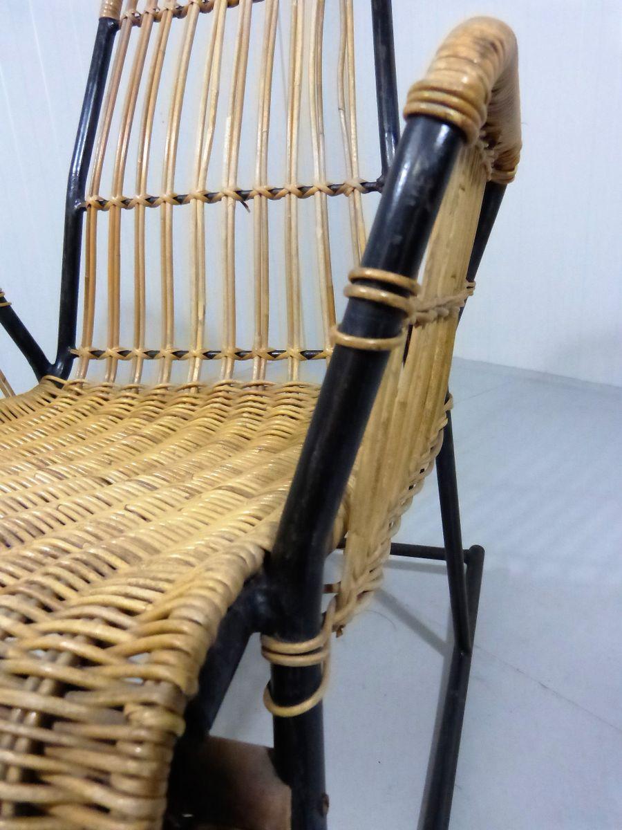 Vintage rattan stahl schaukelstuhl bei pamono kaufen for Schaukelstuhl auf englisch