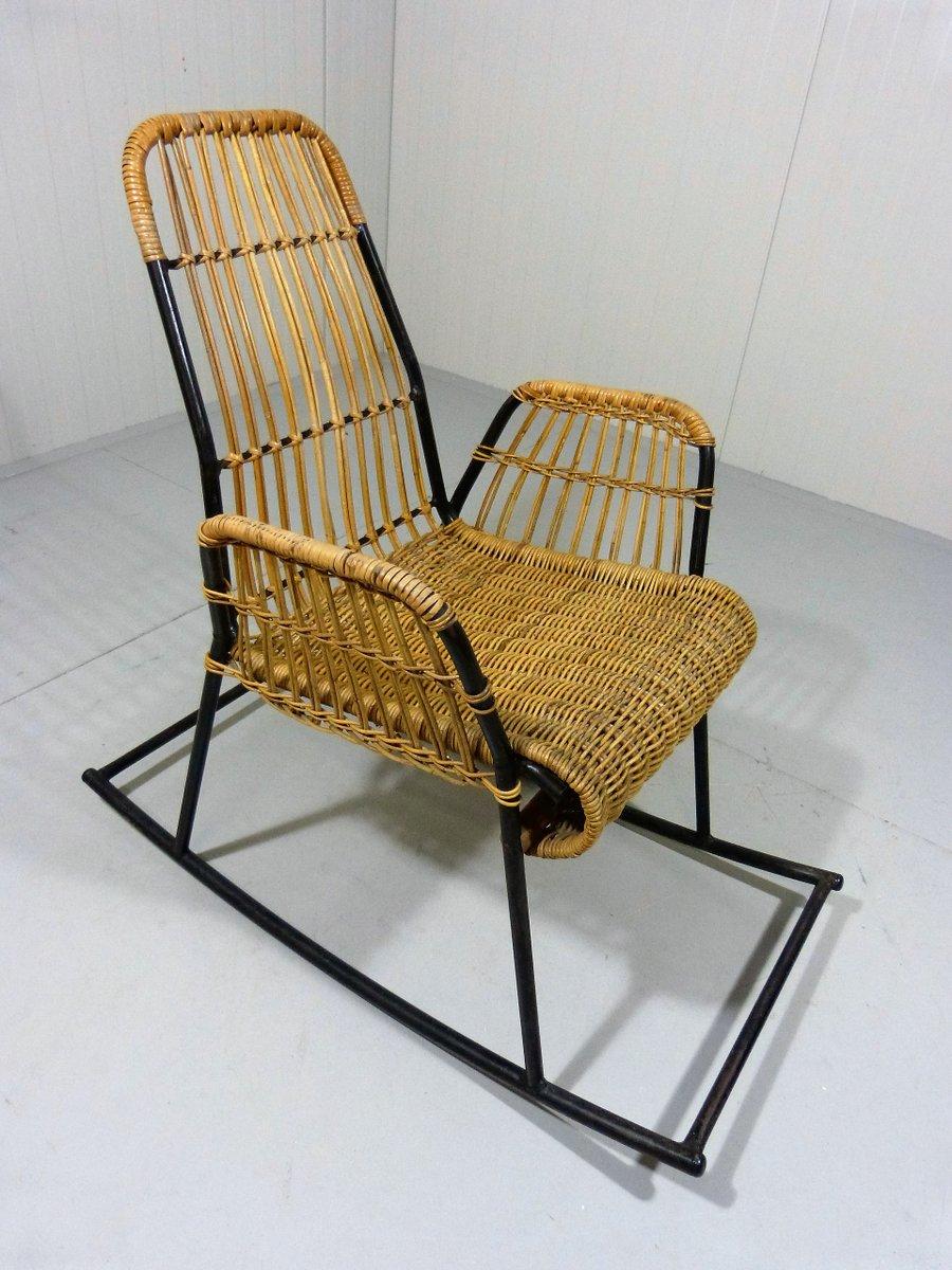 Vintage rattan stahl schaukelstuhl bei pamono kaufen - Schaukelstuhl retro ...