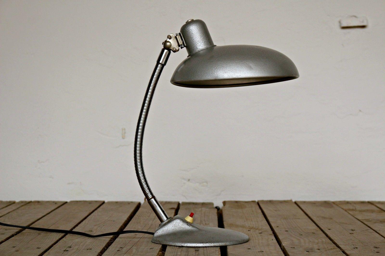 Vintage 40s cast iron metal deco industrial gooseneck desk lamp light - Wonderful Vintage Metal Desk Lamp Vintage Grey Desk Lamp From Szarvasi Metal I Throughout Decor