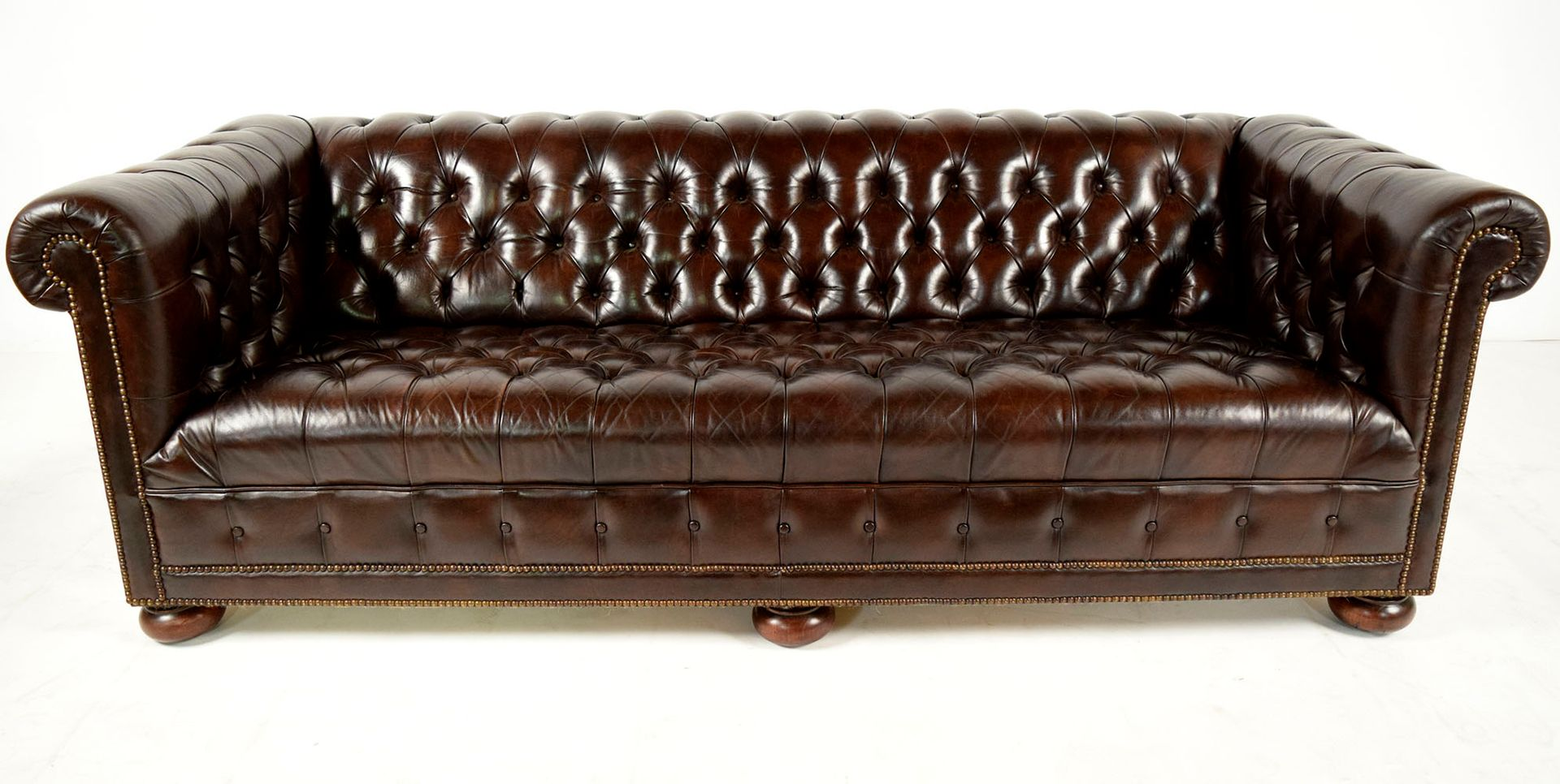 Vintage Chesterfield Brown Leather Sofa With Round Feet 1960s For Sale At Pamono