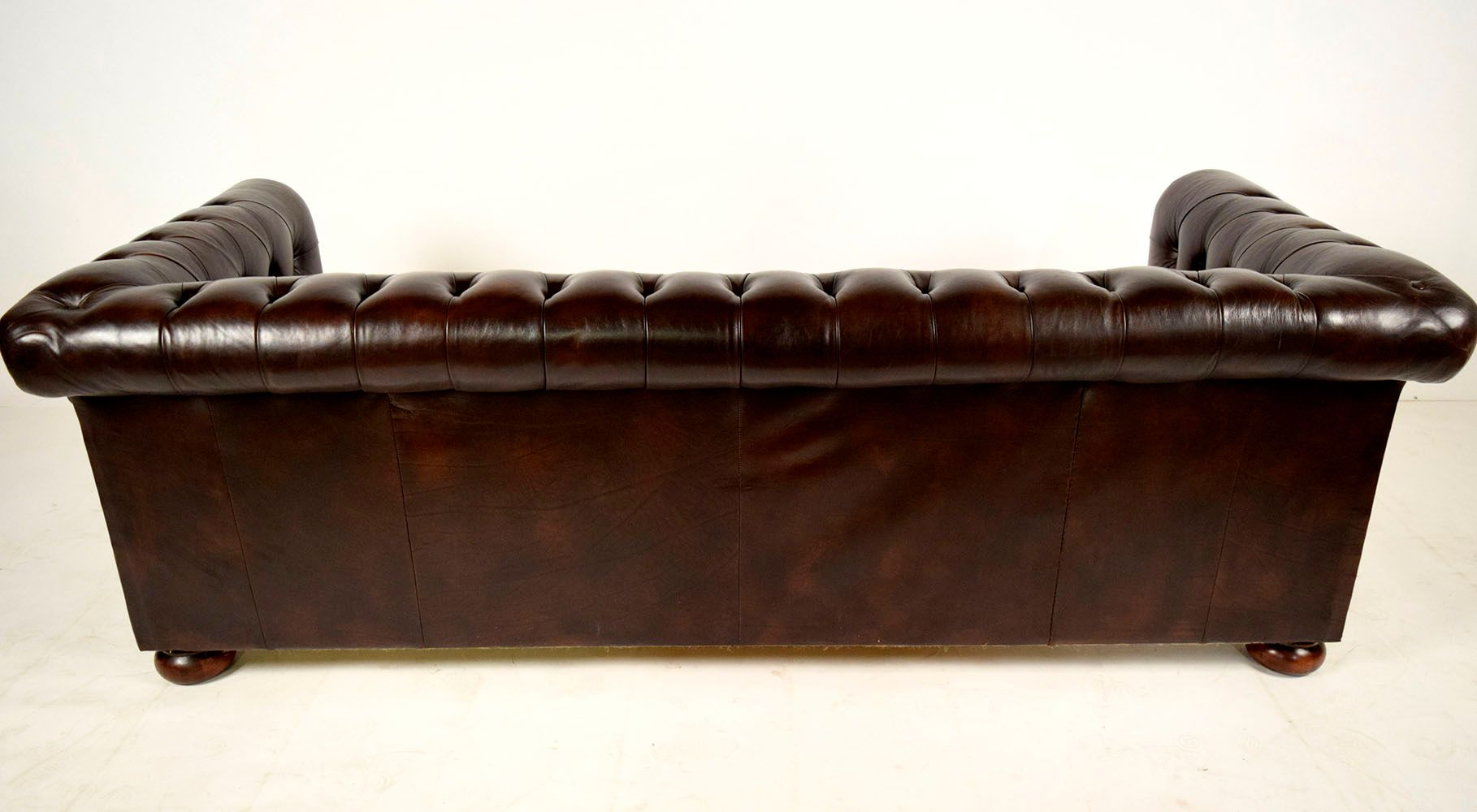 vintage chesterfield brown leather sofa with round feet 1960s for