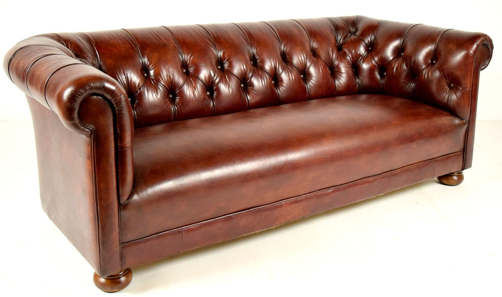 Vintage Chesterfield Brown Leather Sofa 1970s For Sale At Pamono