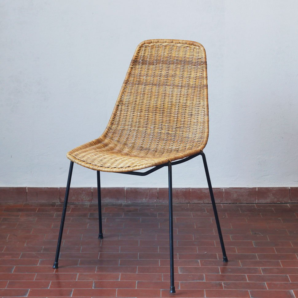 italian basket chair by carlo graffi & franco campo for home, 1956