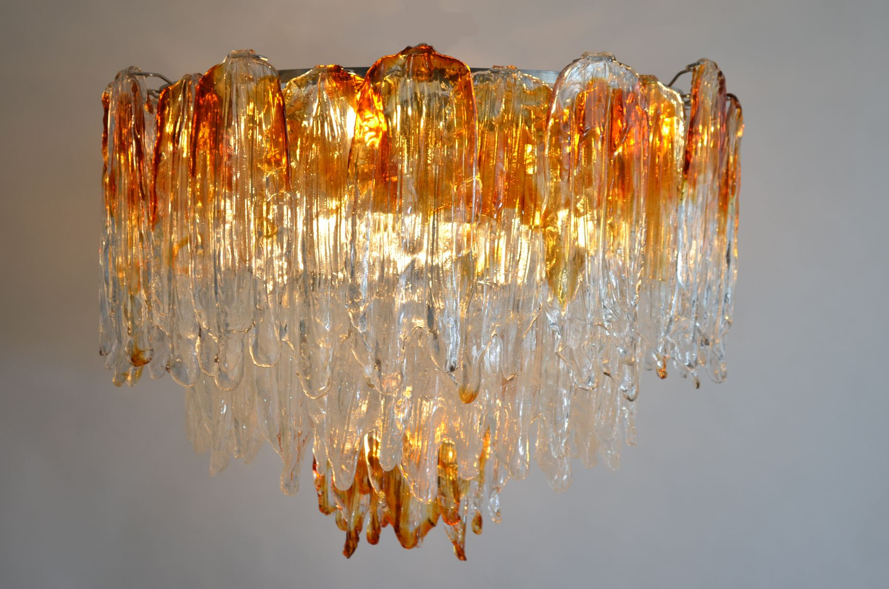 Vintage Murano Glass Flame Chandelier From Mazzega For
