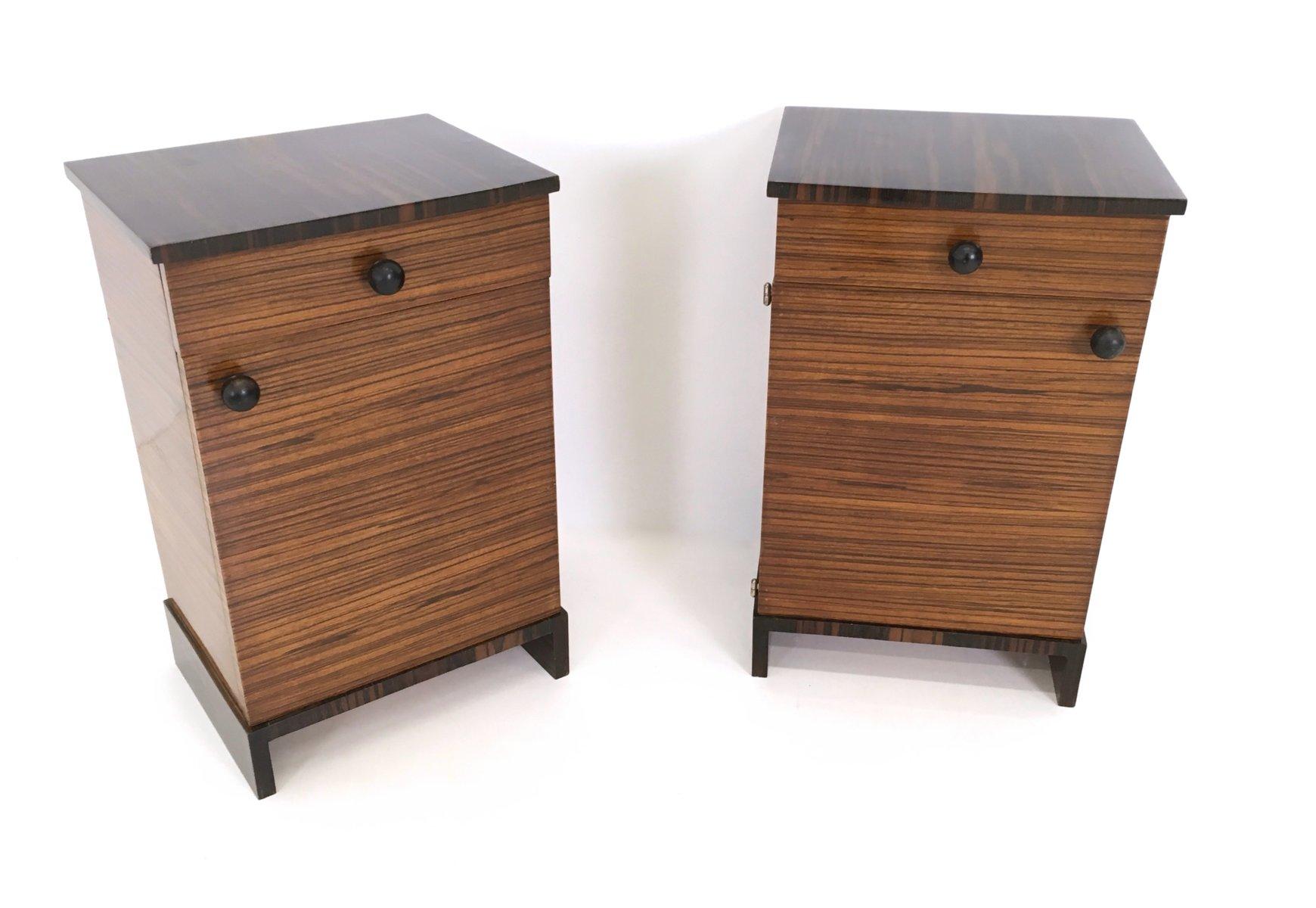 Zebrawood U0026 Macassar Ebony Bedside Tables, 1940s, Set Of 2