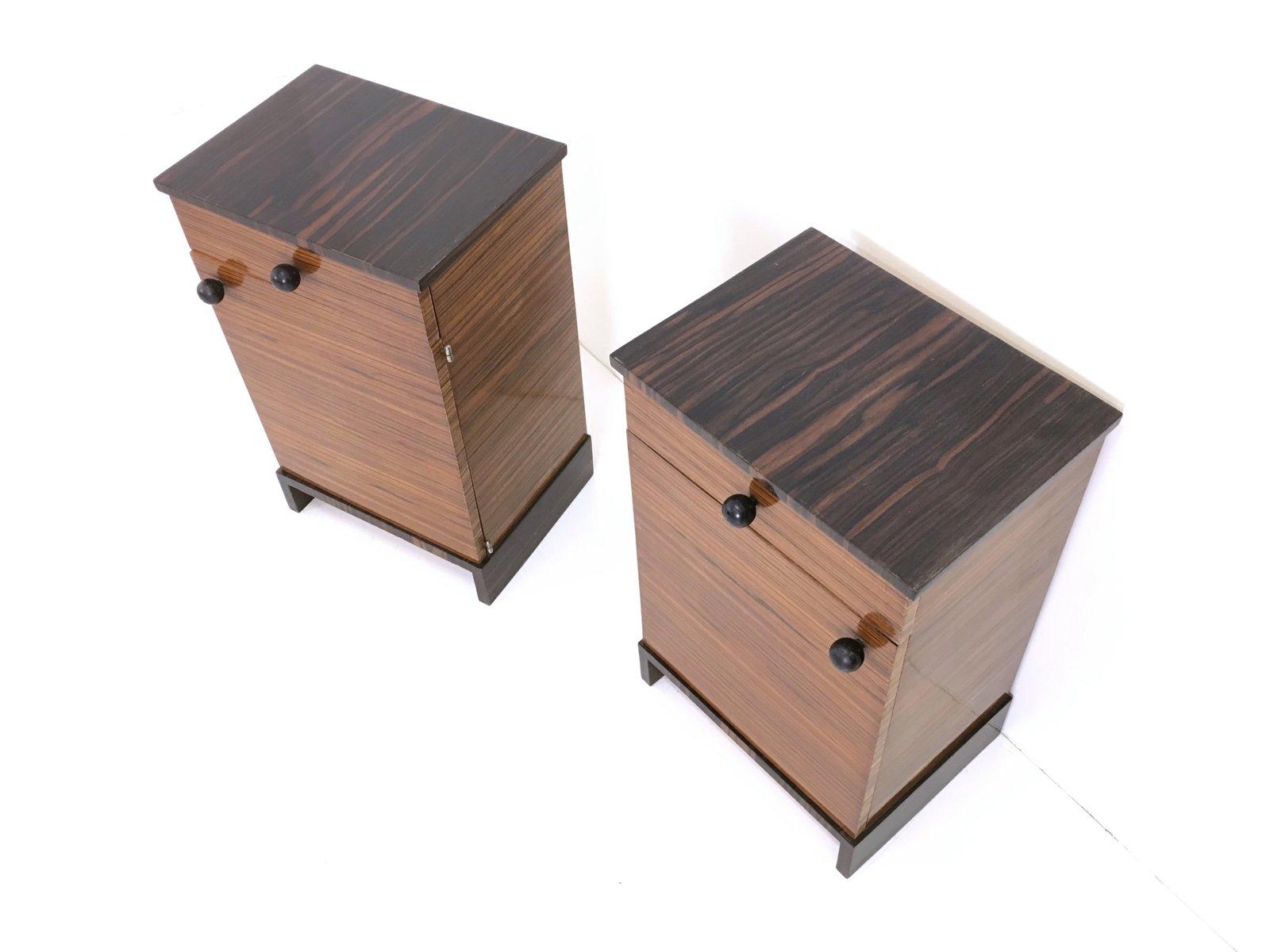 Comodini in legno di zebrano e ebano macassar, anni \'40, set di 2 ...