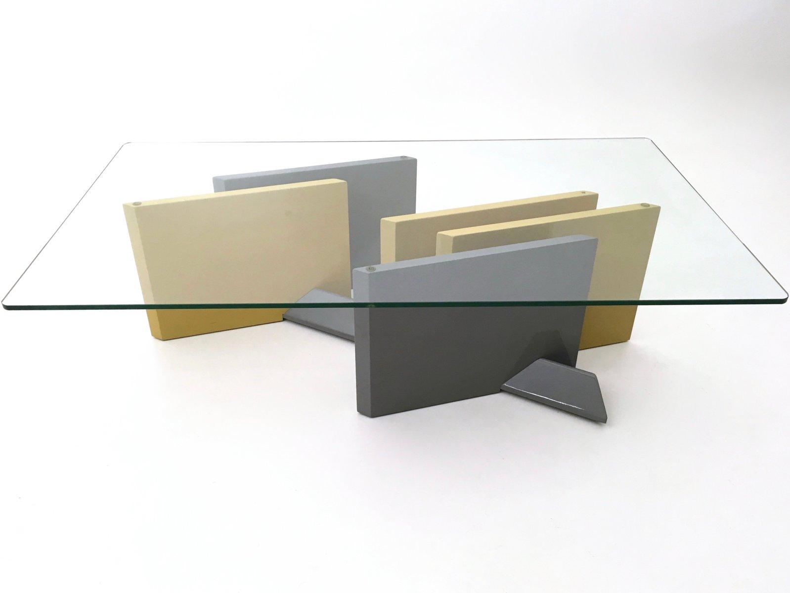 couchtisch aus lackiertem holz kristallglas 1980er bei pamono kaufen. Black Bedroom Furniture Sets. Home Design Ideas