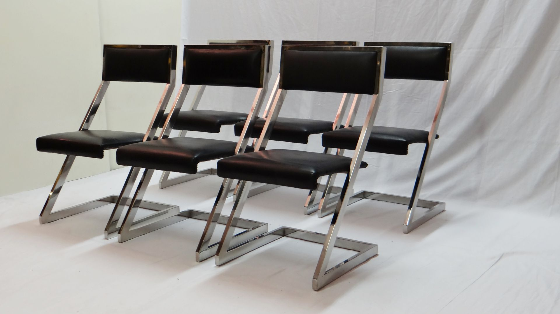 Superb img of Chrome Plated Z Shaped Dining Chairs 1970s Set of 6 for sale at  with #5D4C44 color and 1920x1079 pixels