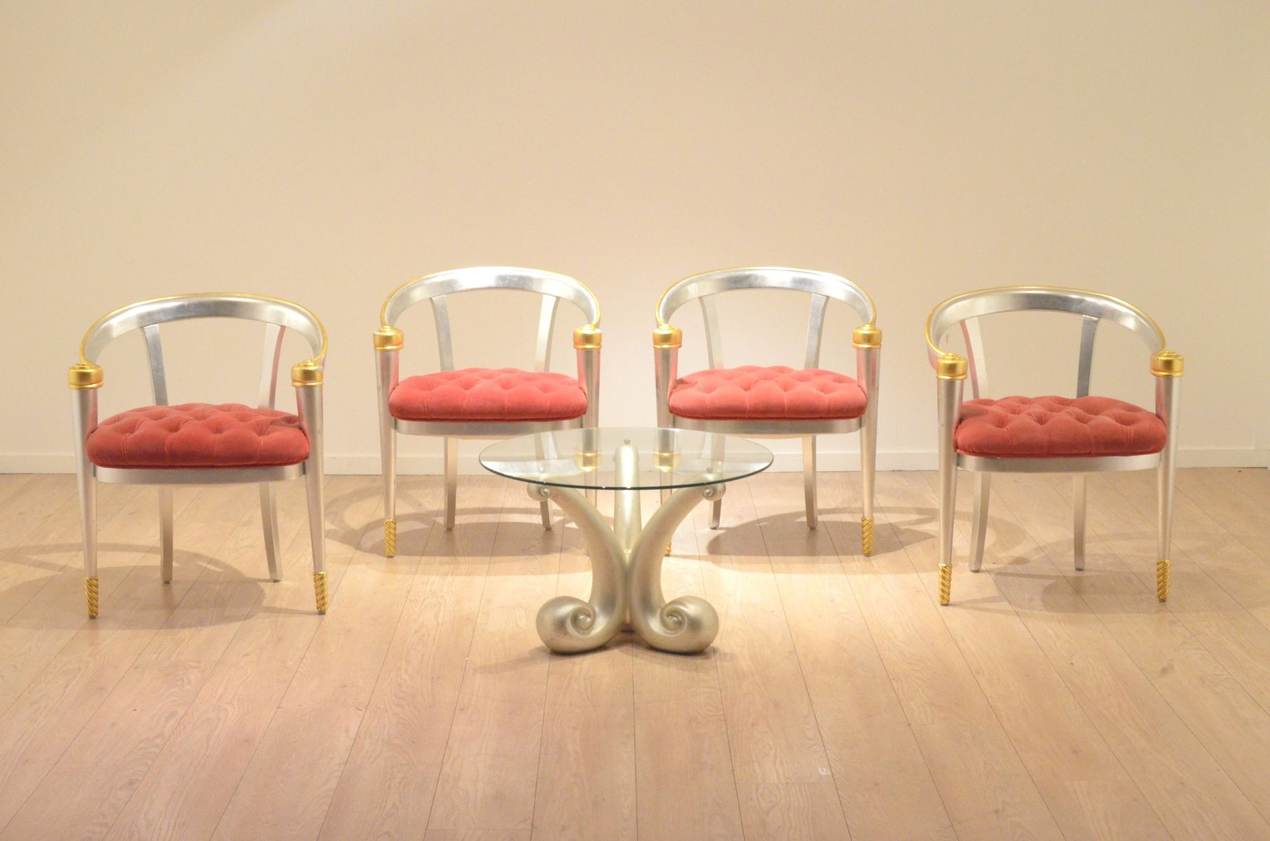 Vintage Italian Gold & Silver Leaf Coffee Table & Lounge Chairs