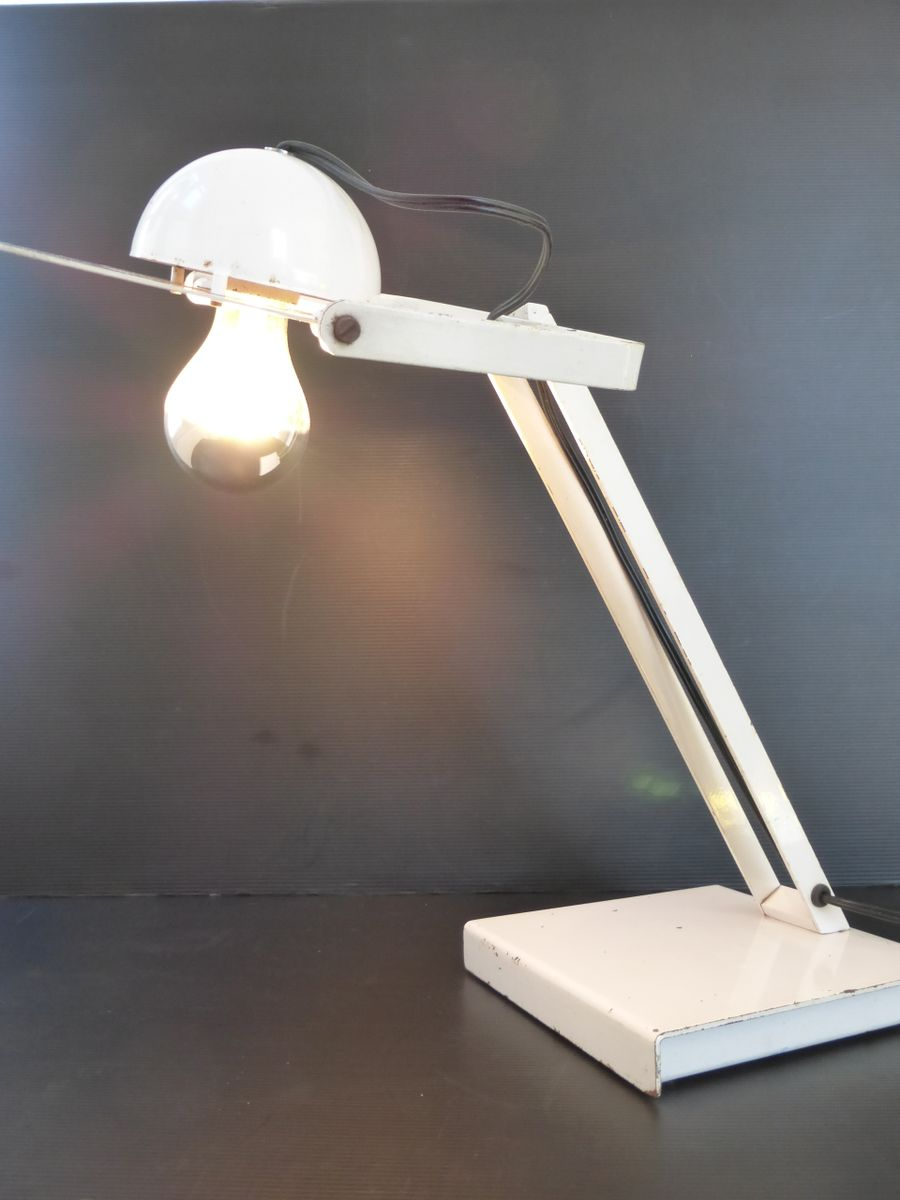 italian space age white desk lamp 1970s for sale at pamono. Black Bedroom Furniture Sets. Home Design Ideas