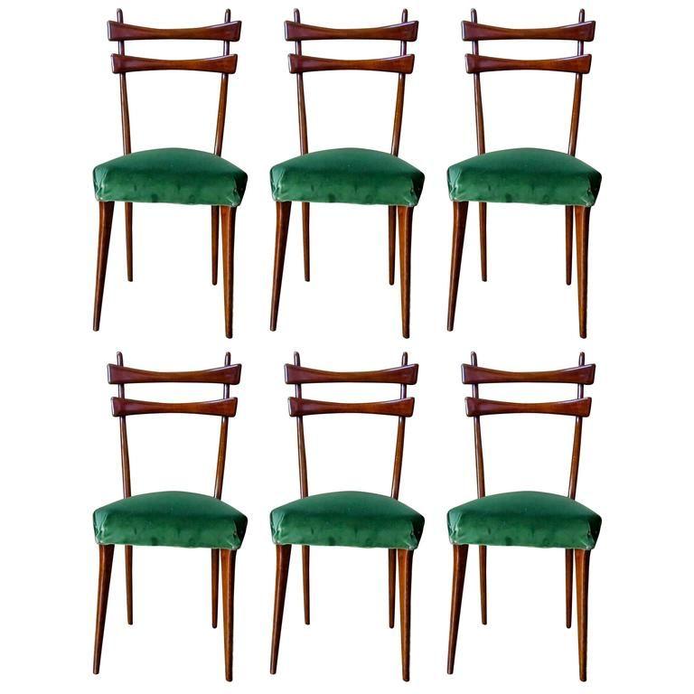 Italian MidCentury Dining Chairs in Velvet1950s Set of 6 for