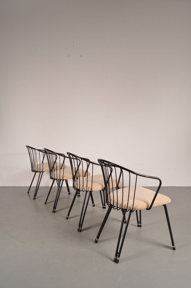 Black Metal Dining Chairs 1950s Set Of 4 For Sale At Pamono