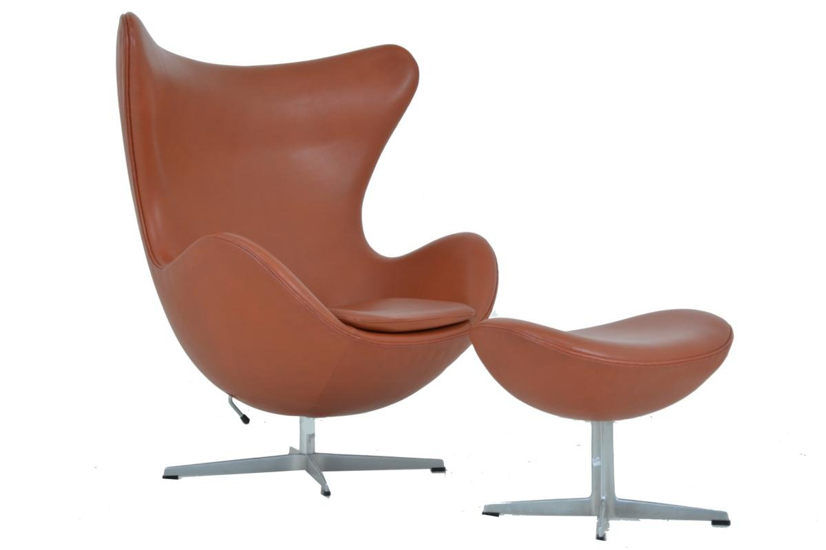 This arne jacobsen swan chair in cognac leather by fritz hansen is no - Egg Chair Footstool By Arne Jacobsen For Fritz Hansen