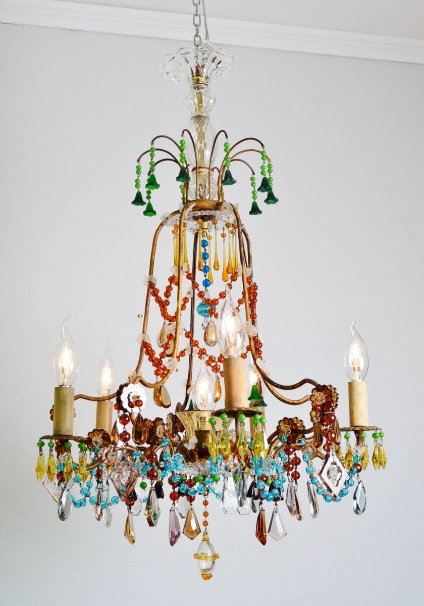 colorful gilt murano glass chandelier 1940s for sale at pamono
