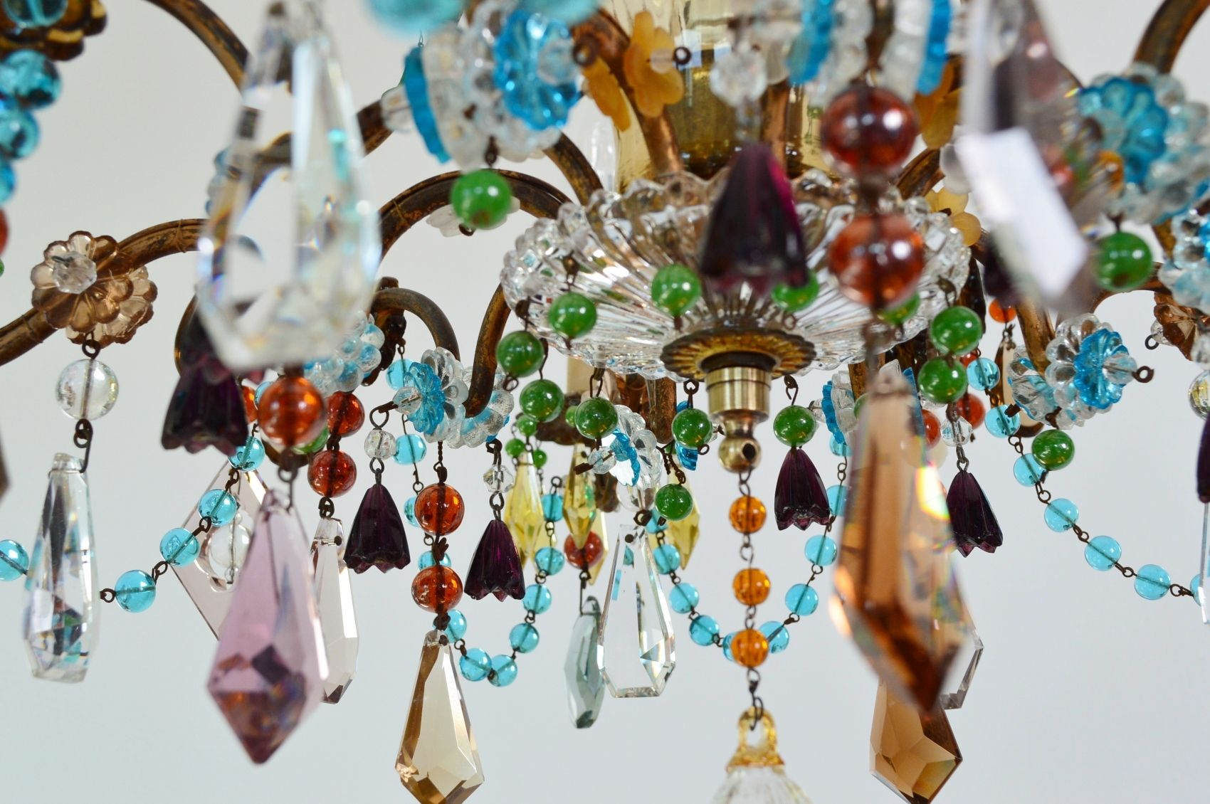 Colorful French Gilt Murano Crystal Glass Chandelier