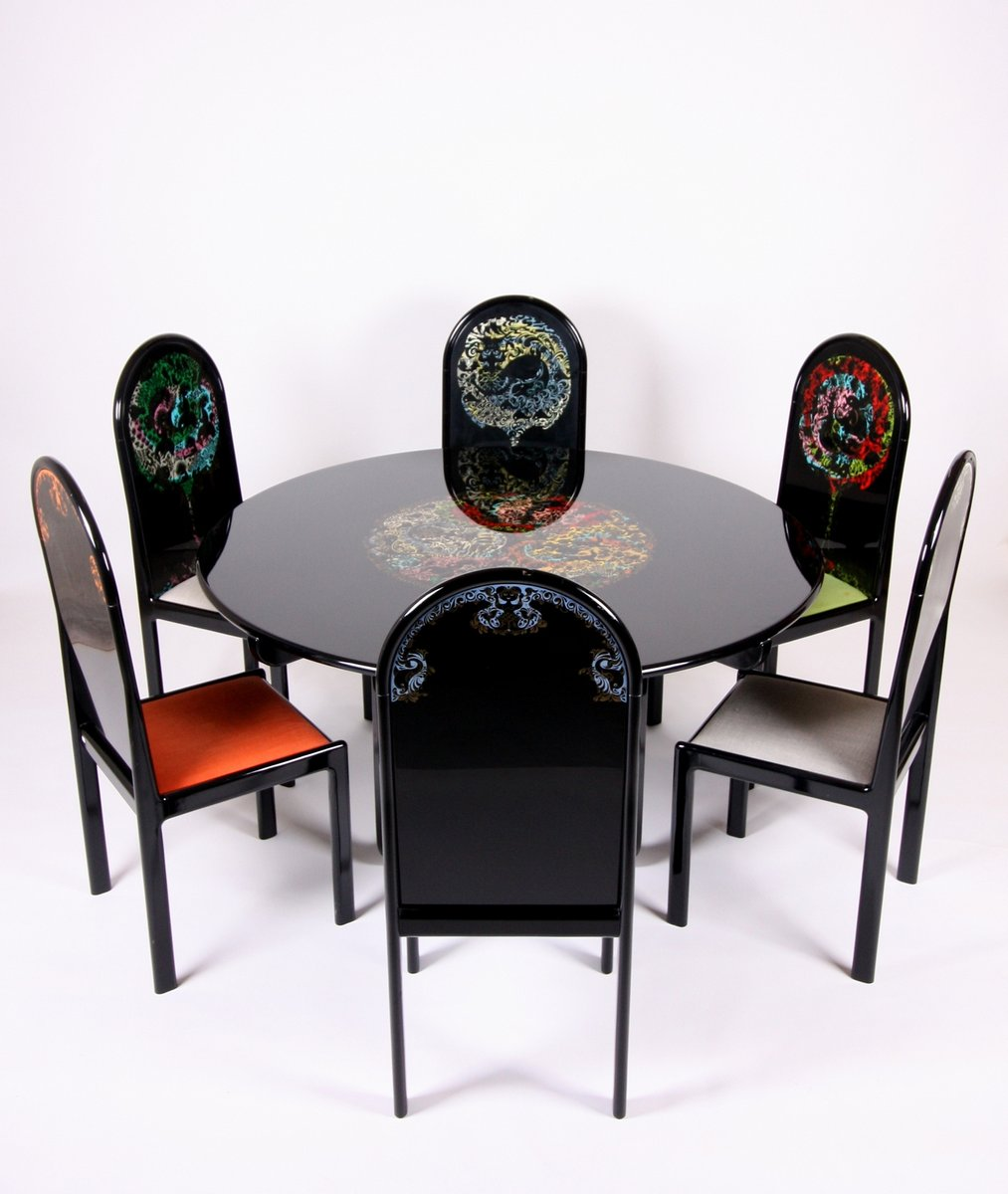German limited screen printed table and 6 chairs by bjorn for Table 6 chaises