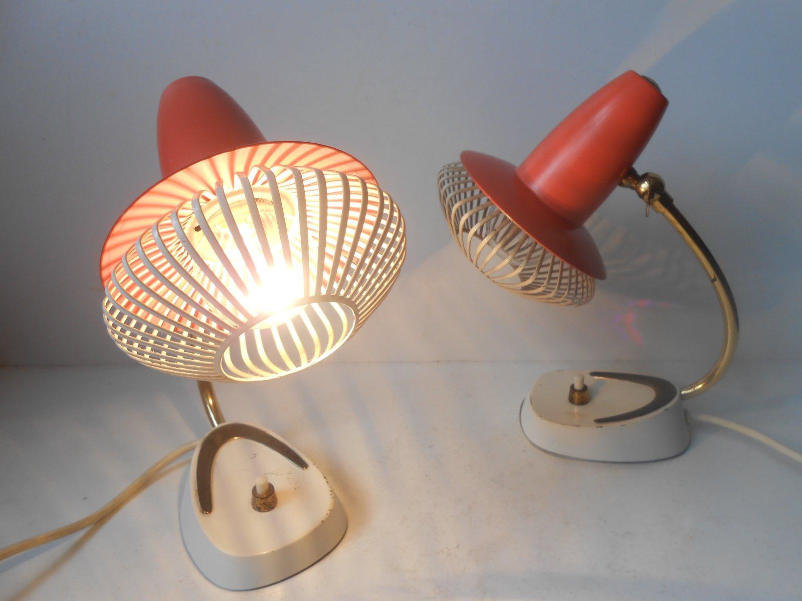 Modernist Adjustable Red Bedside Table Lamps Set Of 2 For