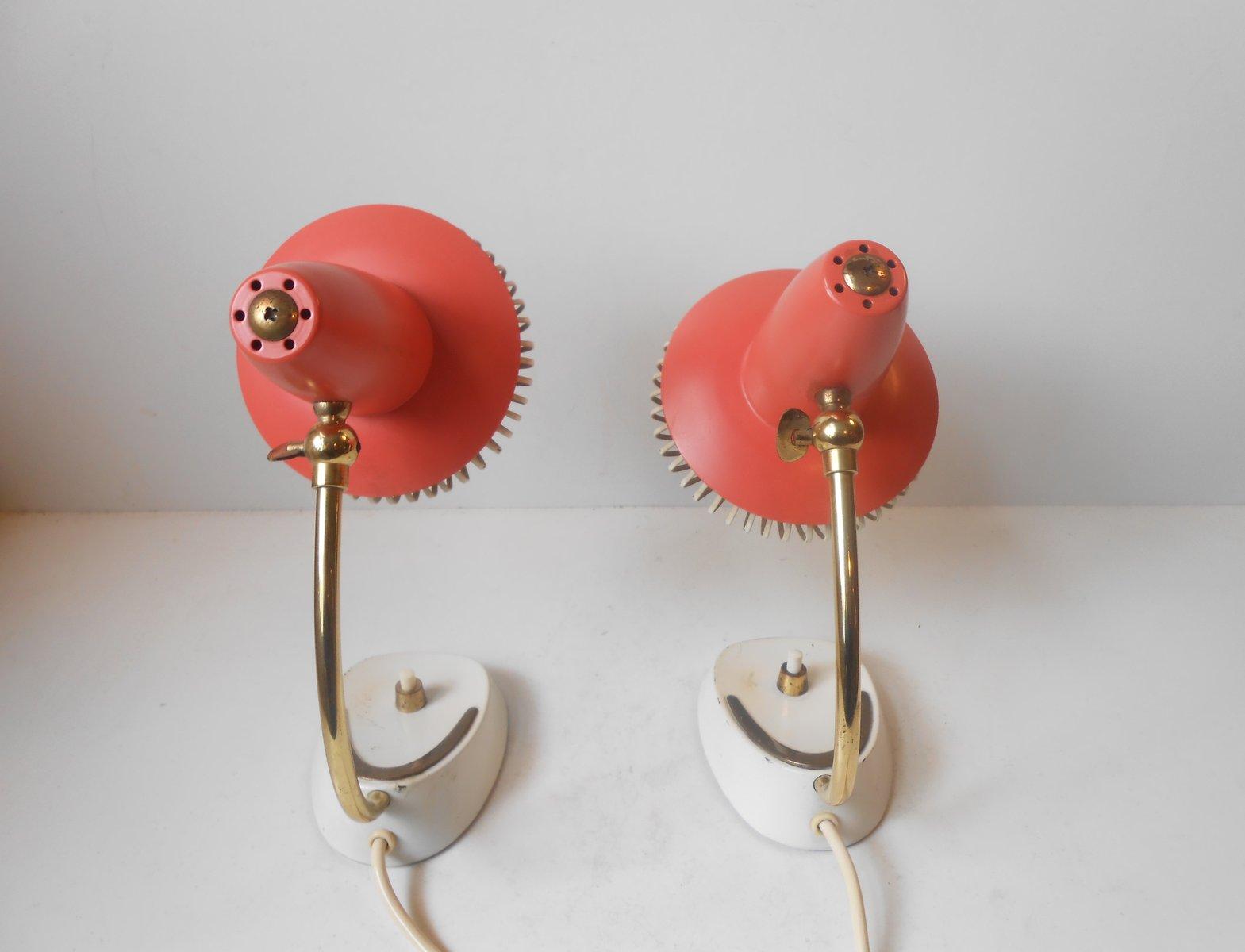 Vintage Swiss Modernist Adjustable Red Bedside Table Lamps