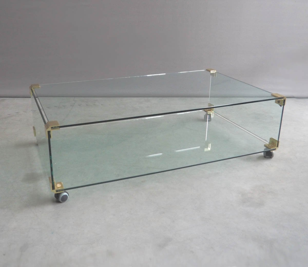 Large Glass And Brass Coffee Table On Wheels 1970s For Sale At Pamono
