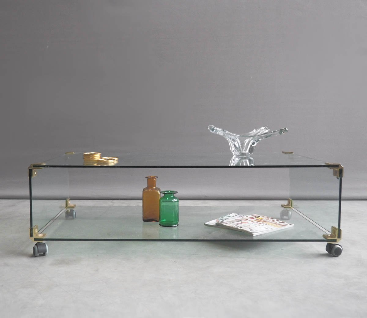 Large Glass And Brass Coffee Table On Wheels, 1970s For