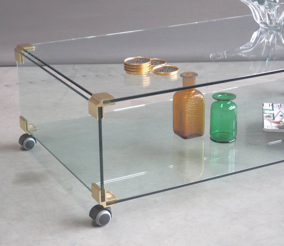 Large Glass And Brass Coffee Table On Wheels, 1970s
