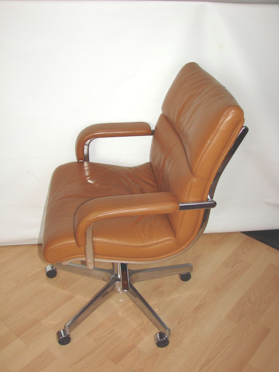 italian leather office chair, 1980s for sale at pamono