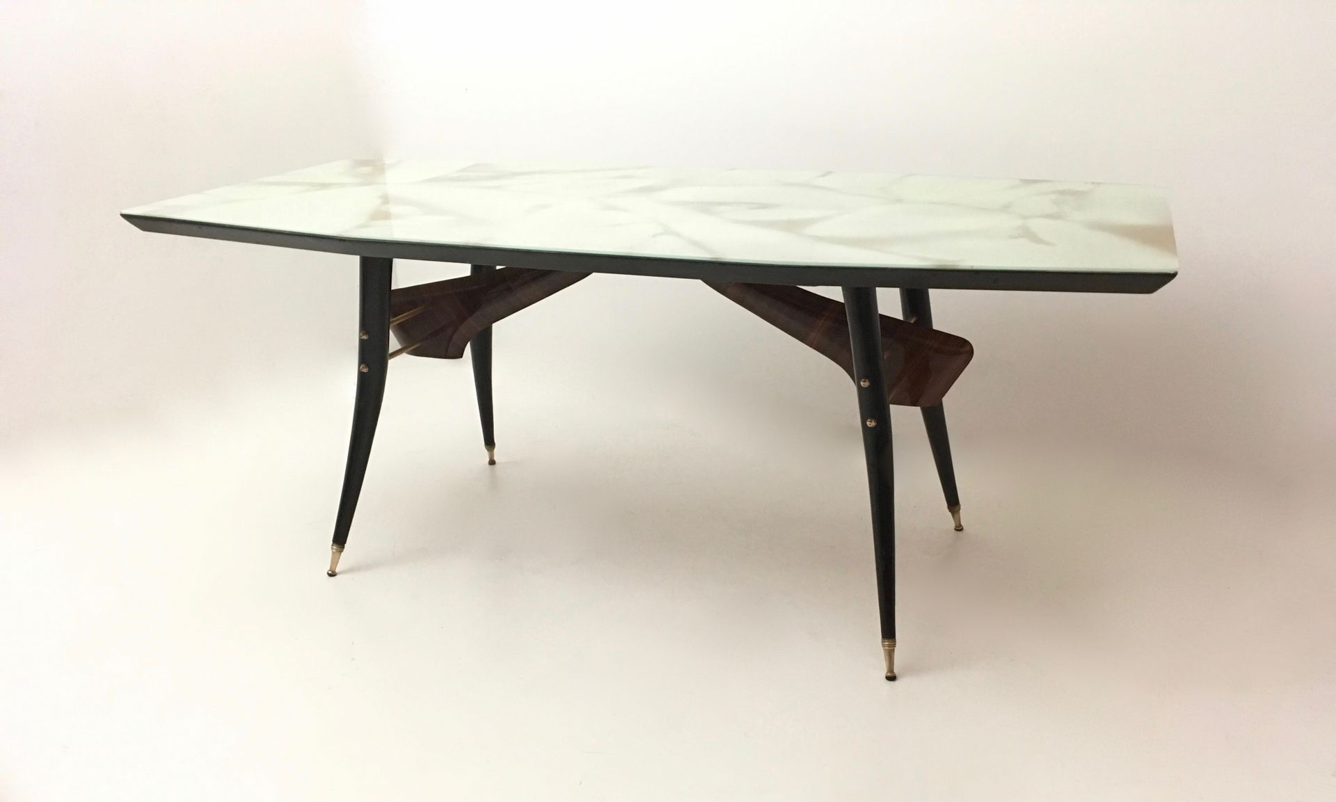 Rosewood Beech And Glass Dining Table 1950s For Sale At Pamono