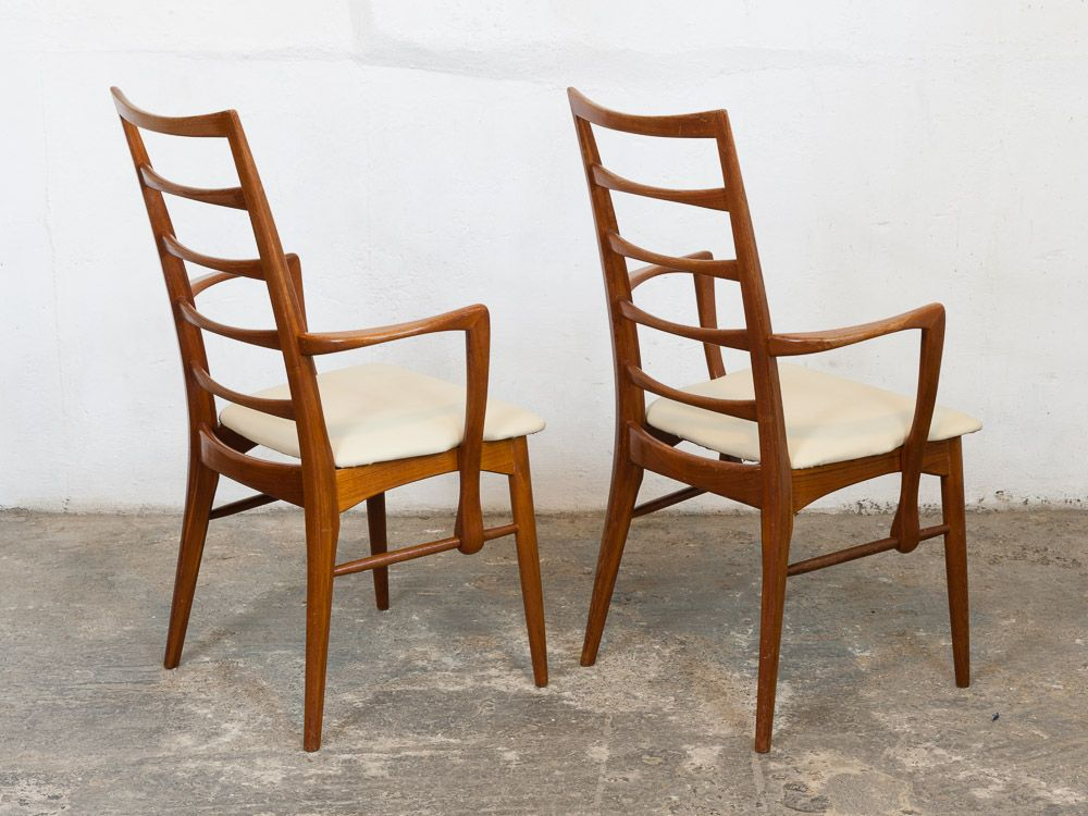 Vintage teak ladder back dining chairs by neils koefoed Ladder back chairs