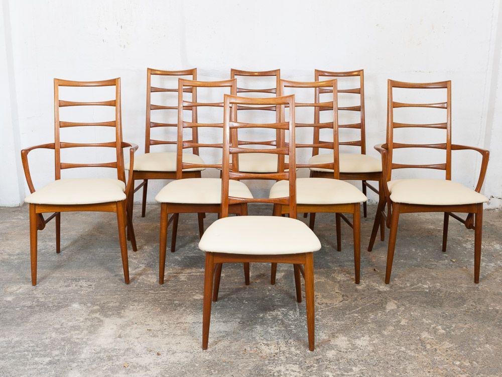 vintage teak ladder back dining chairs by neils koefoed for koefoeds