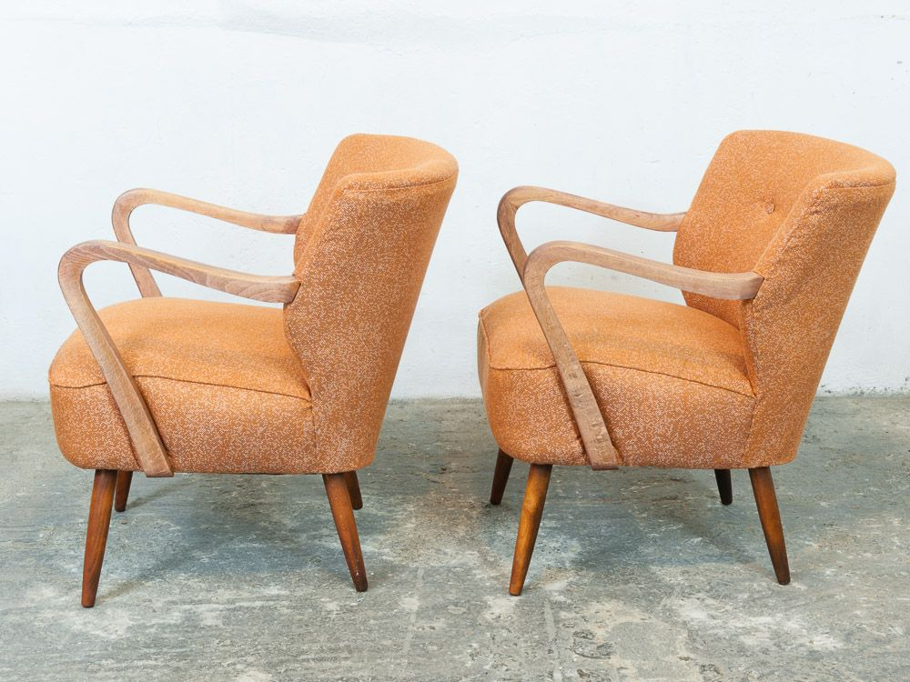 Vintage Orange Cocktail Chairs 1940s Set Of 2 For Sale