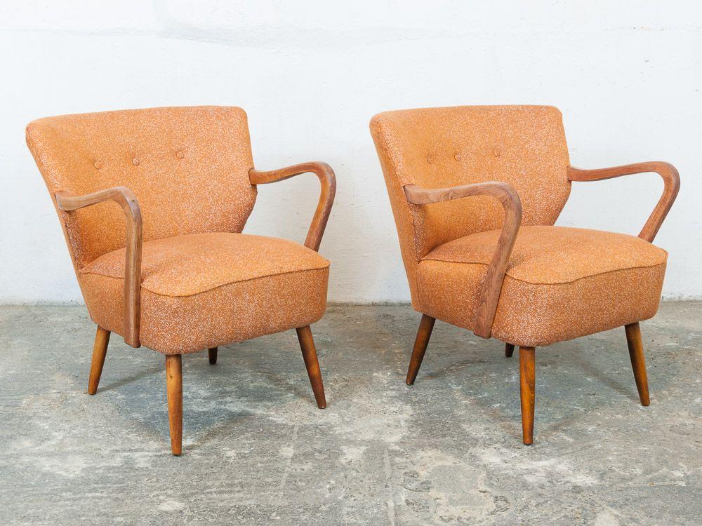 orange vintage cocktail sessel 1940er 2er set bei pamono. Black Bedroom Furniture Sets. Home Design Ideas