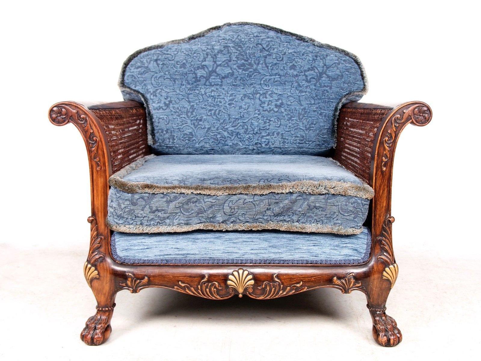 Antique velvet chair - French Antique Velvet Berg Re Armchair 3 Previous