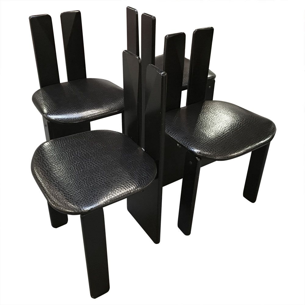 black modernist dining chairs 1980s set of 4 for sale at pamono. Black Bedroom Furniture Sets. Home Design Ideas