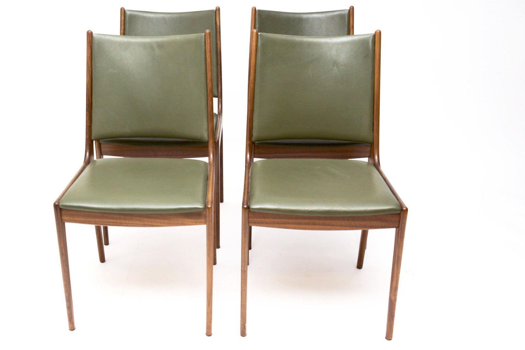 Danish Green Leather Dining Chairs By Johannes Andersen