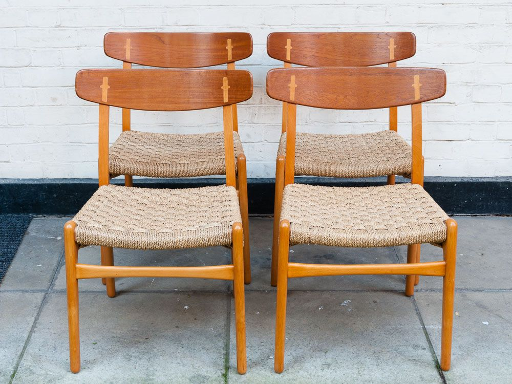 danish ch23 teak dining chairs by hans j wegner for carl hansen