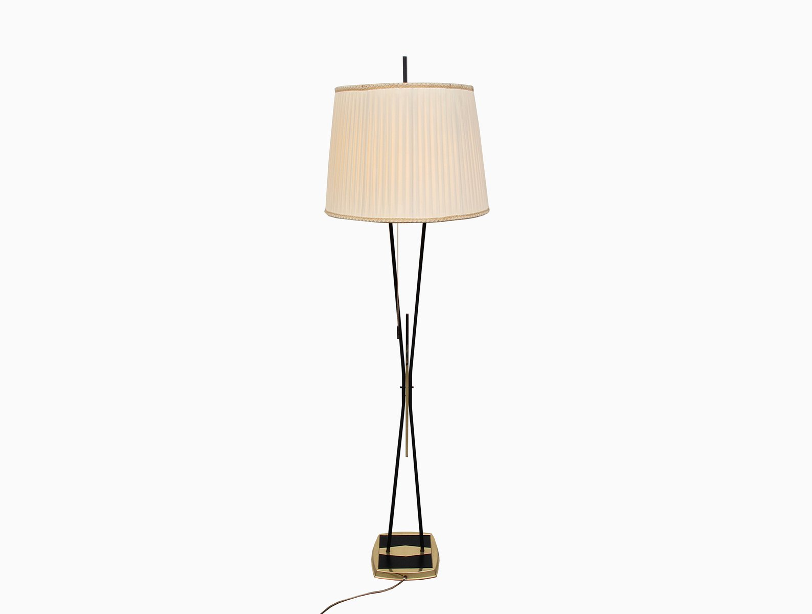 Brass and black lacquered metal floor lamp 1950s for sale for 1950s floor lamps
