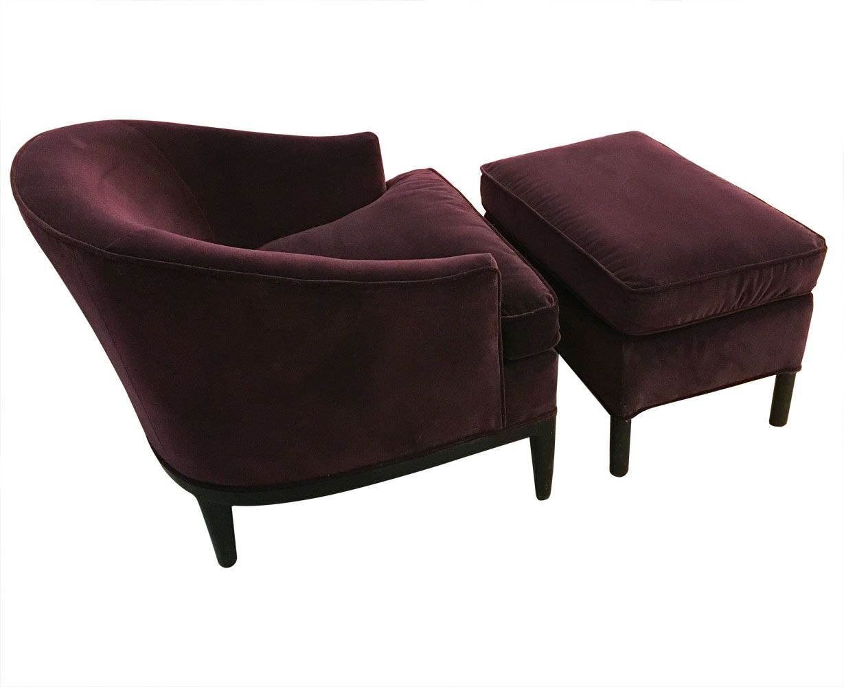 Upholstered chair ottoman by edward wormley for dunbar 1960s for sale at pamono - Edward wormley chairs ...