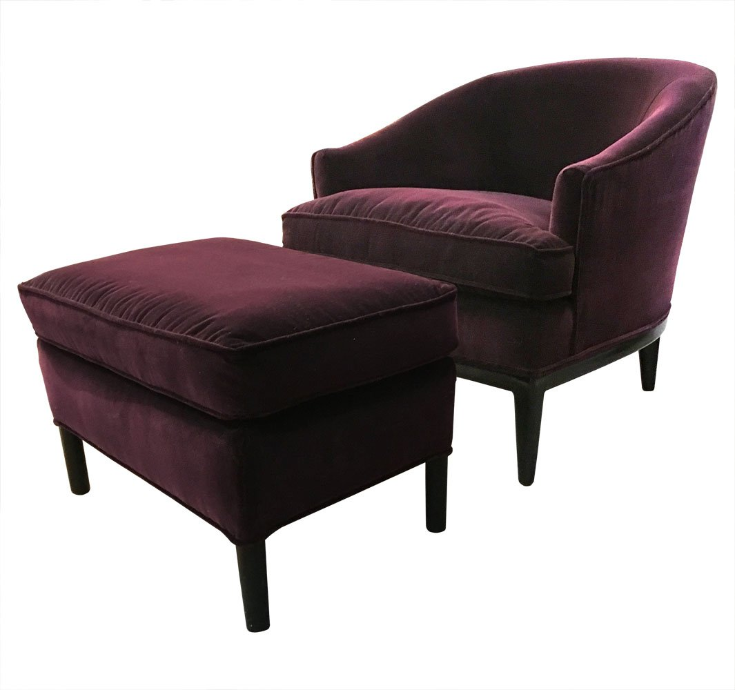 Upholstered Chair And Ottoman upholstered chair & ottomanedward wormley for dunbar, 1960s