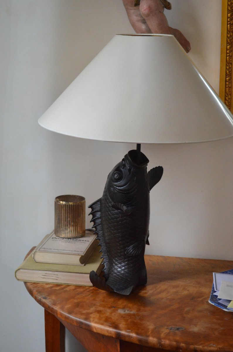Vintage Bronze Fish Shaped Table Lamps Set Of 2 For Sale