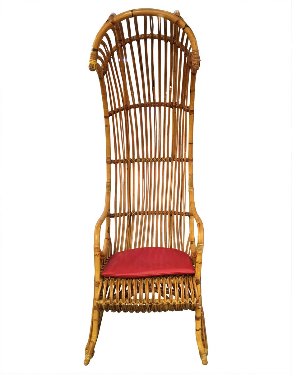 Outdoor canopy chair - Vintage Rattan Canopy Chair With Leather Cushion
