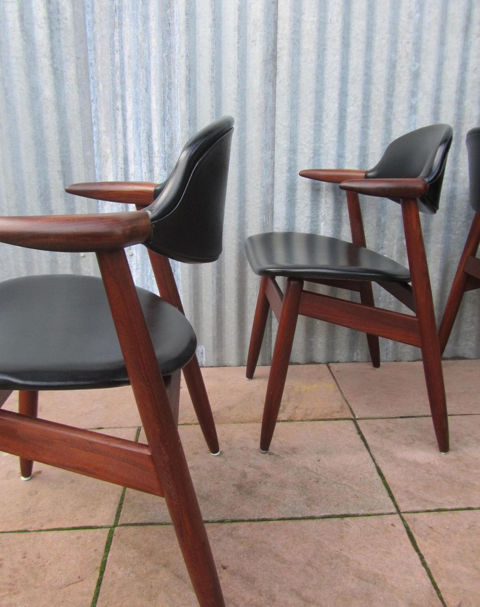 Teak Amp Vinyl Cowhorn Dining Chairs By Tijsseling For