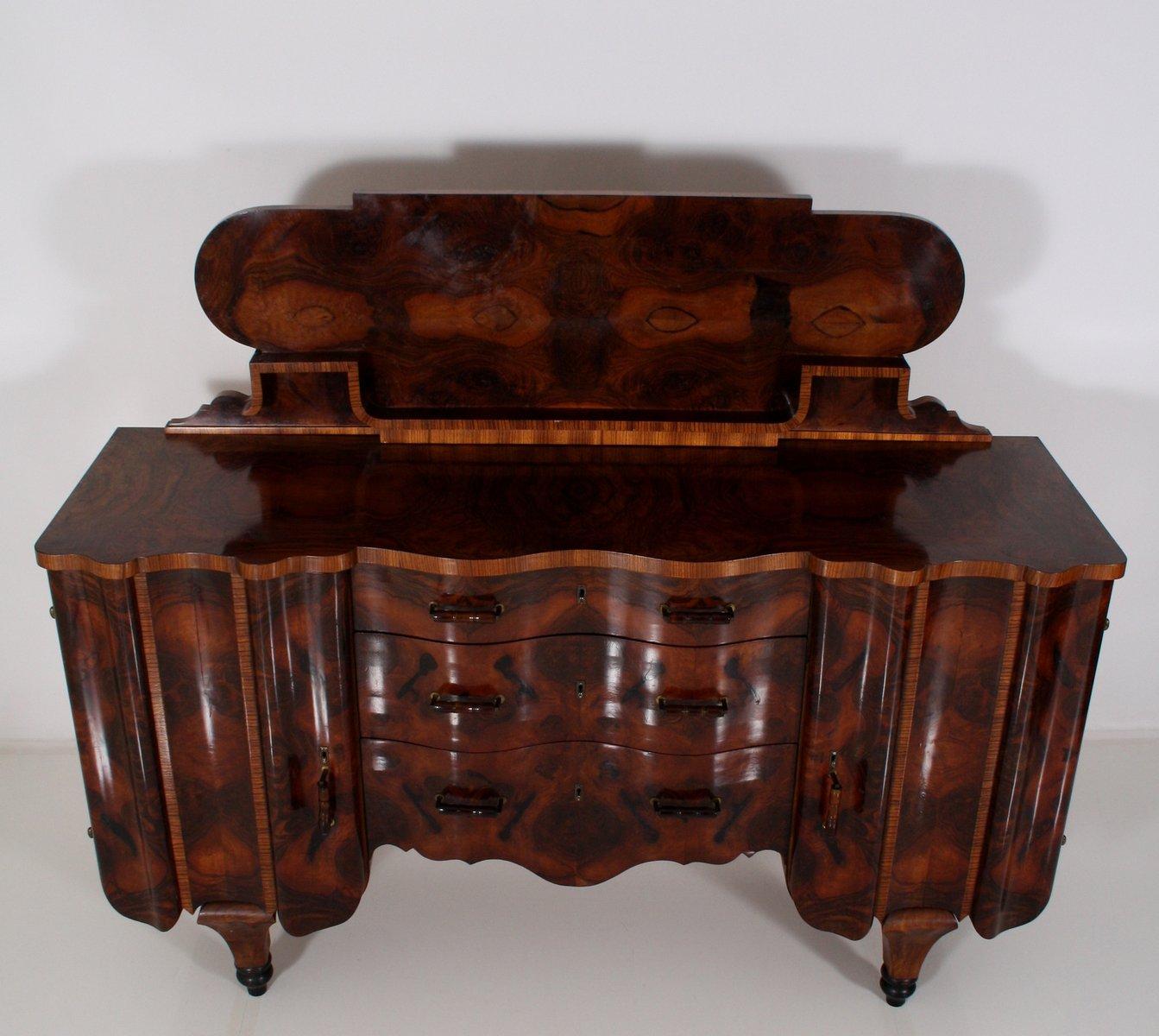 vintage art deco wurzelholz buffet mit aufsatz bei pamono kaufen. Black Bedroom Furniture Sets. Home Design Ideas